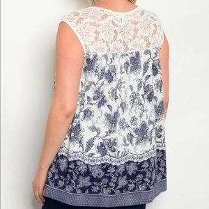 Tops - ❗️CLOSING SALE❗️PLUS SIZE: Navy Crochet Detail Top